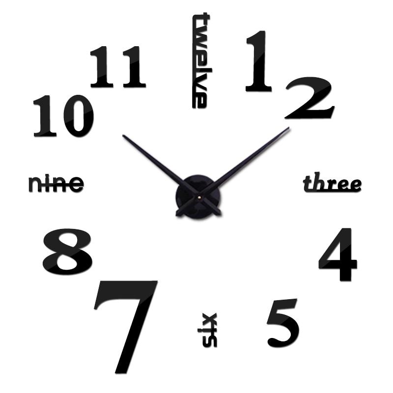 ახალი კედლის აკრილის სარკის ციფრული საათი horloge 3D კედლის სტიკერი სახლის მორთვა მისაღები ოთახი კვარცის საათი ნემსი