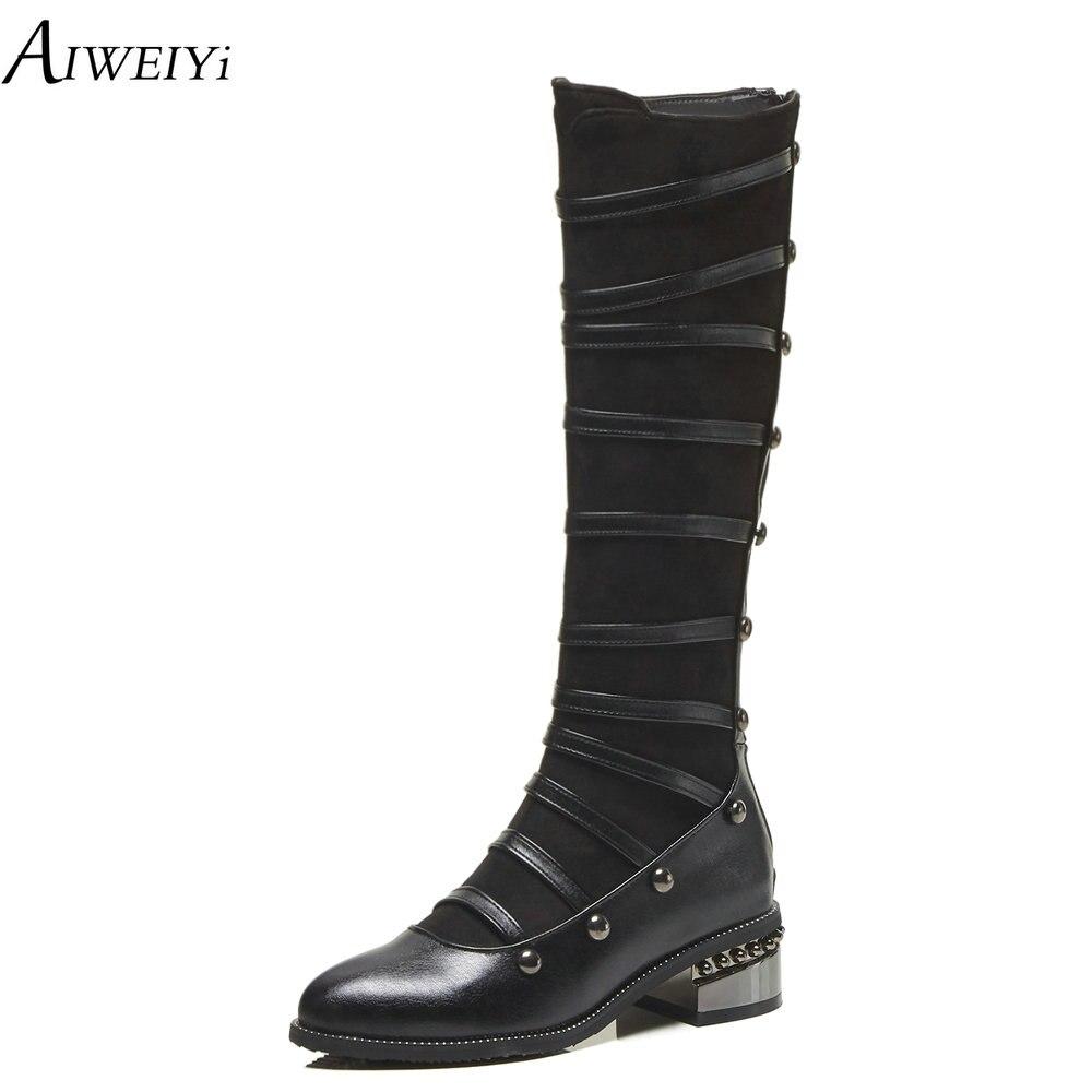 AIWEIYi taille 34-48 genou bottes hautes femmes mode bottes longues chaussures d'hiver chaussures de mariage bottes de moto d'hiver Sexy