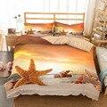 MUSOLEI 3D комплект постельного белья с изображением морской звезды  пододеяльник  набор  огненный летний  песчаный пляж  праздники  CL-King Размеры...