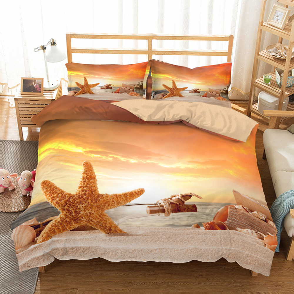 MUSOLEI 3D Bedding Set Starfish Bed Cover Duvet cover set, Fiery summer, sandy beach,holidays CL King Sizes Home Textiles 3pc