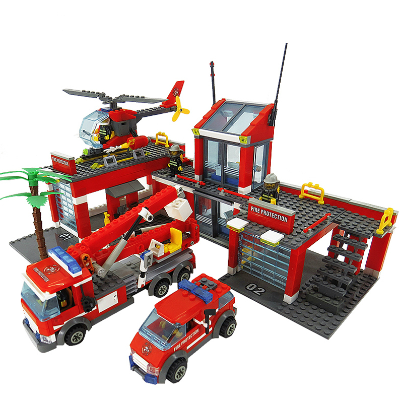8051 Fire Station Building Blocks Model Blocks Legoings City Bricks Block Firemen Figures Educational Toys for Children new city police fire station truck spray water gun firemen car building blocks sets bricks model kids toys compatible legoings