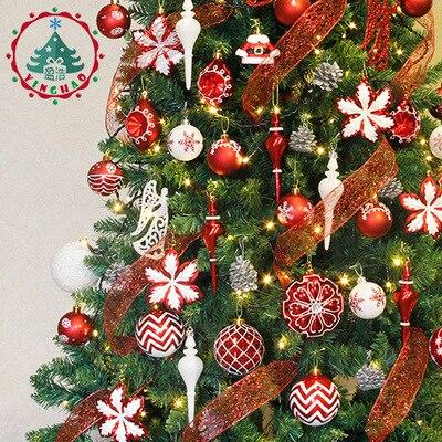 Bola de Navidad adornos Gif Set bolsa bola colorido adornos con letras Merry Christmas Set palline natale árbol de Navidad bolas colgantes - 2