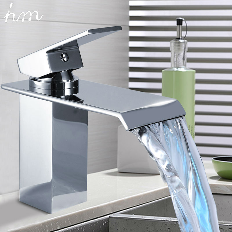 hm Basin Faucets Waterfall Faucet Single Handle Basin Hot and Cold Mixer Bathroom Tap Sink Chrome Finish Origin:guandong China us free shipping wholesale and retail chrome finish bathrom sink basin faucet mixer tap dusl handle three holes wall mounted