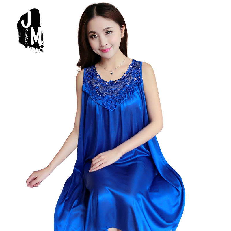 f44ec83e08 Summer Sexy Satin Night Dress Women Big Size 4xl Silk Nightgown Women Lace  Lingerie Nightdress Sleeveless