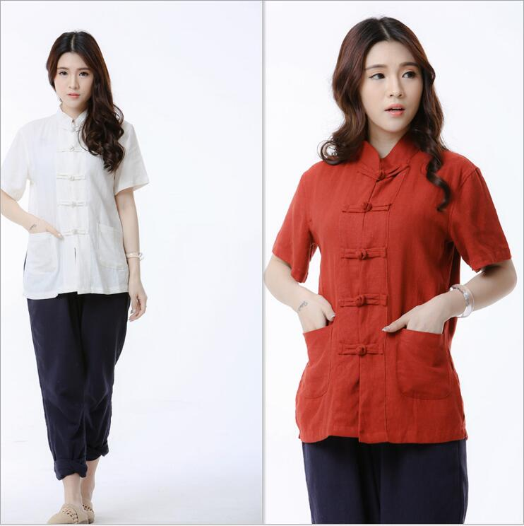 Été automne nouveau style original style chinois costumes traditionnels Top confortable lin veste popeline à manches courtes vêtements