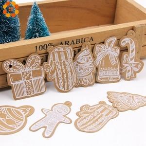 Image 3 - 50 sztuk wielostylowy seria bożonarodzeniowa zawieszki z papieru pakowego DIY rzemiosło wisząca etykietka z liny boże narodzenie Party etykiety artykuły do pakowania prezentów