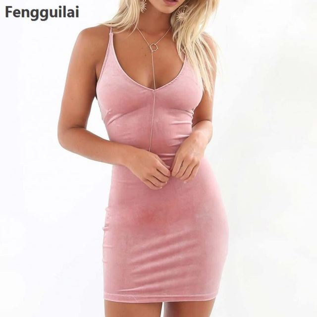 Skin Tight Women Mini Short Dress 2018 Summer Sexy Bodycon Dress V -Neck  Clubwear Pink a88e5558d