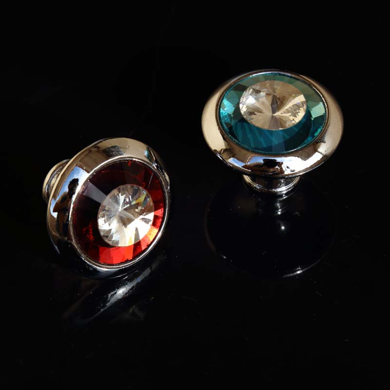 modern simple two color glass crystal dresser win cabinet knobs pulls silver red blue clear crystal drawer shoes cabinet knobs css clear crystal glass cabinet drawer door knobs handles 30mm