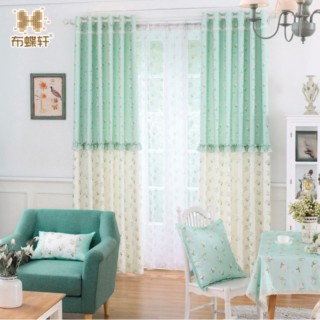 Past Custom Splicing Curtains Korean Style Refreshing Mint Green Feel Fresh For Living Room Bedroom