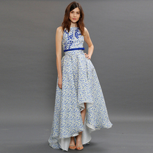 HIGH QUALITY New 2017 Summer Fashion Runway Maxi Dress Women's Sleeveless Garden Style Blue Floral Printed  Dovetail Long Dress