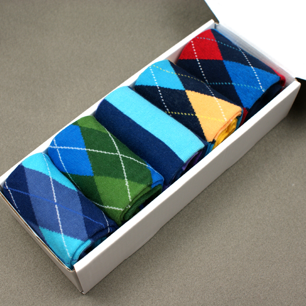 Men Gift Box Colorful Cotton Socks Combed Cotton Brand Mens Socks Diamond Pattern Us Size