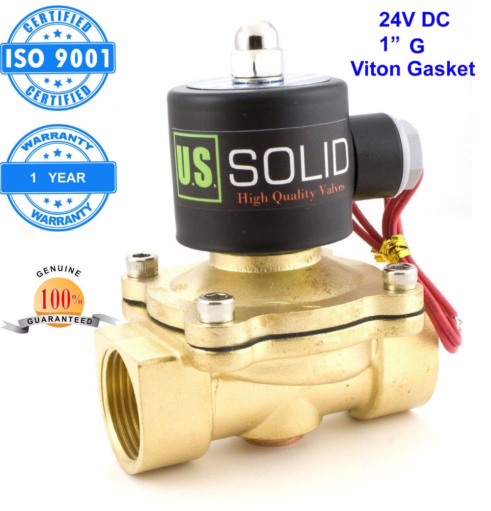 U. S. Solid 1 Brass Electric Solenoid Valve 24 V DC Normally Closed G Thread Viton Gasket Air, Gas,Fuel ISO Certified
