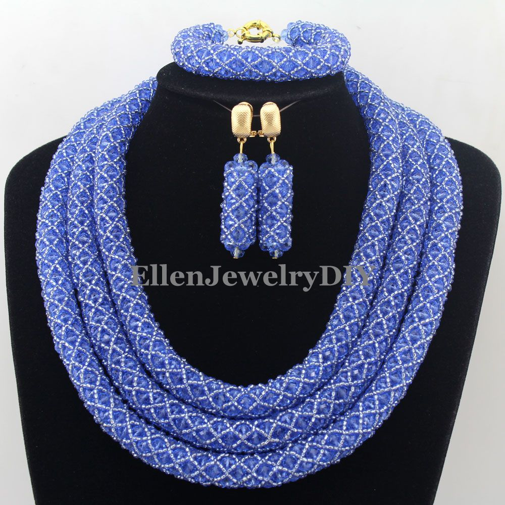 цена Stylish Nigerian Wedding African Beads Jewelry Set Handmade Indian Dubai Bridal Necklace Sets Free Shipping W12695 онлайн в 2017 году