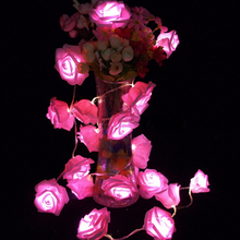 Garland 20pcs/set Rose Flower Fairy luces decorativas string lights guirlande lumineuse LED   Garden Party Decoration