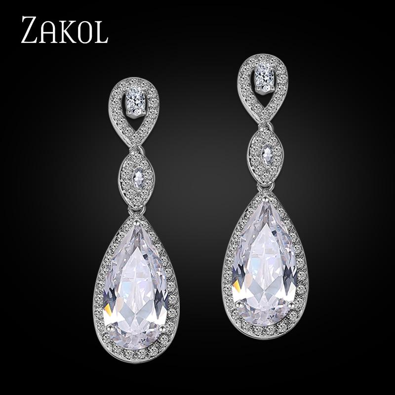 ZAKOL շքեղ երկարատև կախարդական ականջողներ նրբագեղ կանանց համար Հարսանեկան զարդեր AAA + Drրի կաթիլով խորանարդ ցիրկոնով հարսանիքի ականջողներ FSEP029