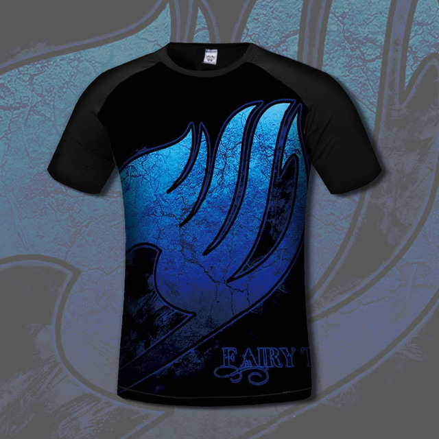 Fairy Tail Anime 3D Print Cotton Casual Fashion Short Sleeves Men's T-shirt