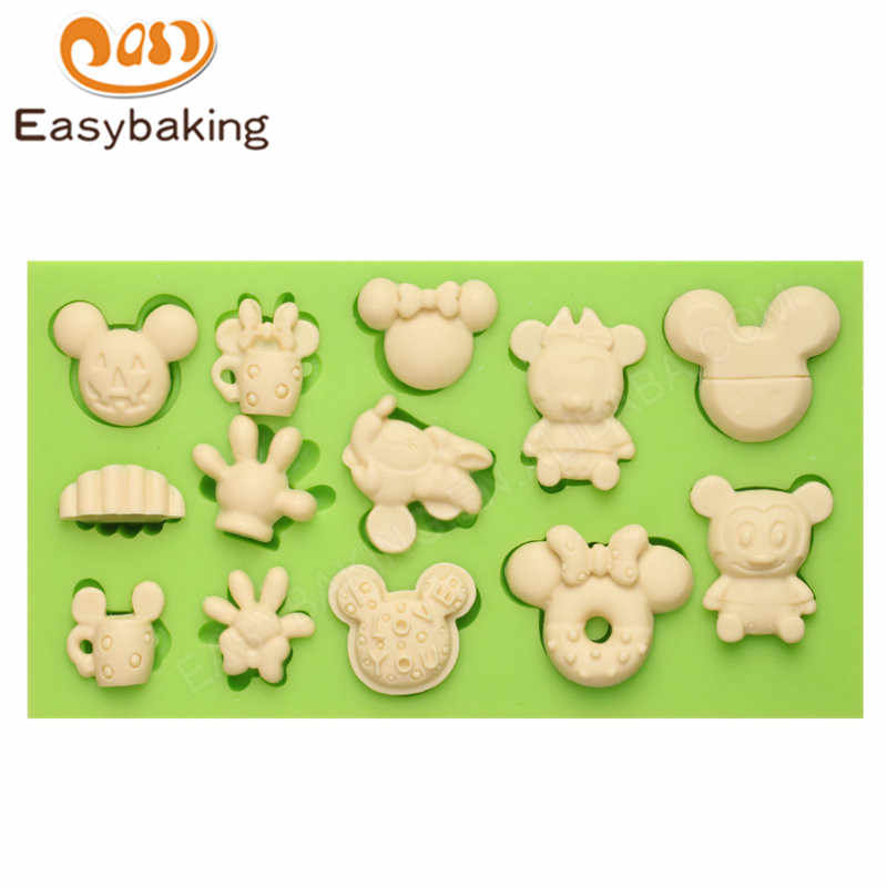 I LOVE YOU Themed Fondant Silicone Mold DIY Woman Mickey Mouse and Monkey Cake Mould Silicon Baking Tools Decorations