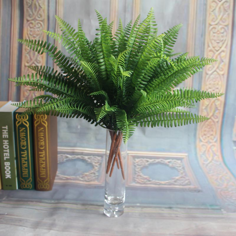 Green artificial fern bouquet silk plants fake persian for Artificial leaves for decoration