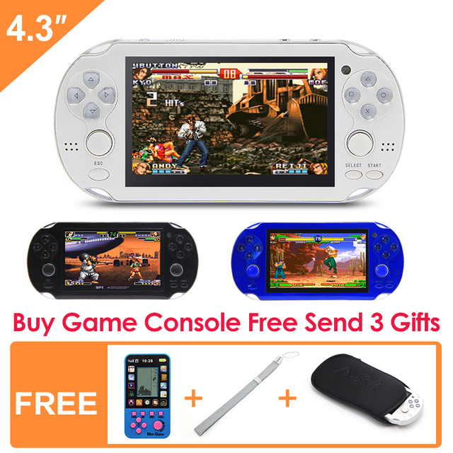 Free Shipping 8GB Handheld Game Console 4.3 Inch Portable Video Game Console camera video  for Arcade gba nes gbc smc smd games