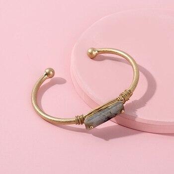 35b43af23361 Brazalete de piedra Natural minimalista perisbox para mujer Simple alambre  envuelto declaración pulseras mujer Color oro brazalete Bijoux