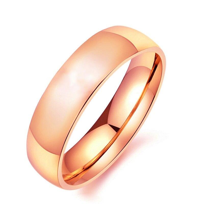 316L 6mm Rosa de Ouro Anéis de Aço Inoxidável Anéis de Aço de Titânio Para Mulheres e Homens