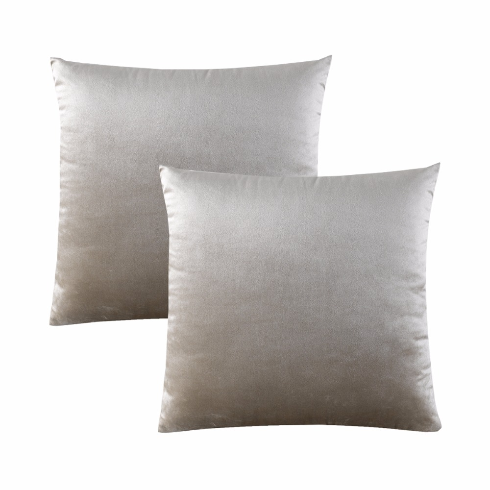 GIGIZAZA 2 Packs Real Velvet Decorative Throw Pillow Covers Wholesale Cushion Cover for Sofa Ivory Green Luxury Fabric