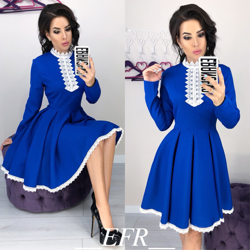 Autumn Winter New Style Women Long Sleeve Patchwork Lace Dress Fall Fashion Casual Crochet Lace A-line Mini Dresses