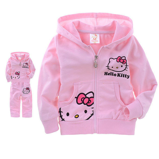 Free shipping Wholesale Children's Clothing 2014 Hot Sale Hello Kitty Tracksuits Cotton Sports Suit Long pants Hoodies for Girls