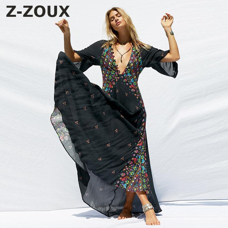 Z-ZOUX Women Dress Deep V Neck Bohemia Dress Sexy Long Print Floral Maxi Dresses Seven Sleeve Sexy Long Beach Dresses 2019 New