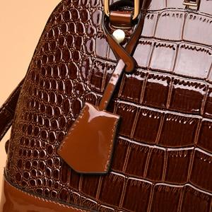Image 5 - 2019 Famous brand design handbag women fashion Red tote bag high quality Patent leather shoulder handbag ladies office Shell bag
