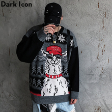Dark Icon Animal Pullover Sweater Men Crew Neck Oversized Sweater Lovely Men's Sweater Streetwear Clothes 2 Colors