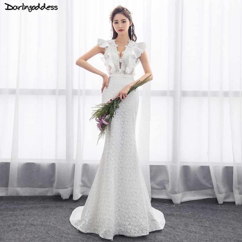 2a1cc63a41 2018 Elegant Lace Mermaid Wedding Dress Turkey Vestido de Novia Sexy Deep V  Neck Bridal Gowns