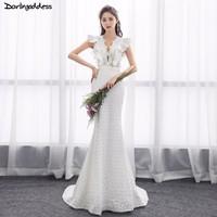 2018 Elegant Lace Mermaid Wedding Dress Turkey Vestido de Novia Sexy Deep V Neck Bridal Gowns Robe mariee Sexy Wedding Dresses