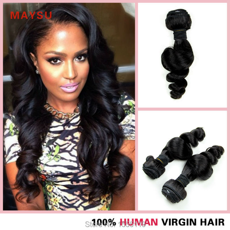 (4 pieces/lot) 6A Brazilian Loose Wave Virgin Hair 8-30 Inch 100% Human Hair Weave Bundles Natural Black No Shedding Tangle Free