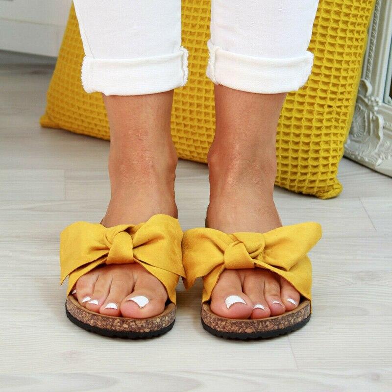 2020 chaussures femme sandales pour femmes chaussures de plage Bow sans lacet gladiateur sandales femmes chaussures d'été sandales plates femme grande taille 11