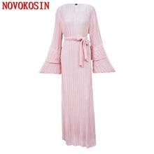 CM21 2018 블랙 이슬람 드레스 여성 플러스 사이즈 여름 드레스 구슬 긴 소매 프릴 드레스 여성 터키 캐주얼 드레스