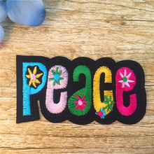 Iron-On Patch 1pc Colorful Sticker PEACE Embroidered Cartoon Peace Badge Patches Garment Appliques clothing Accessory