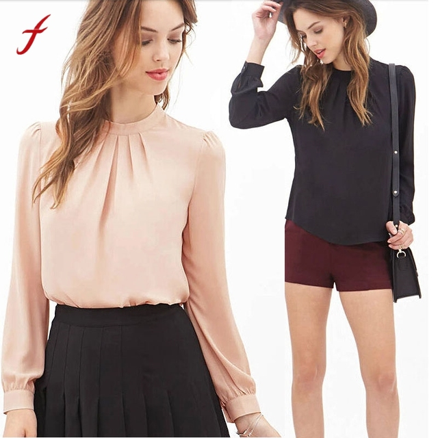 e909e9aa4cd Ladies Tops Women Summer Fold Loose Casual Chiffon Long Sleeve Shirt Tops  Chiffon Blouses Designs #G