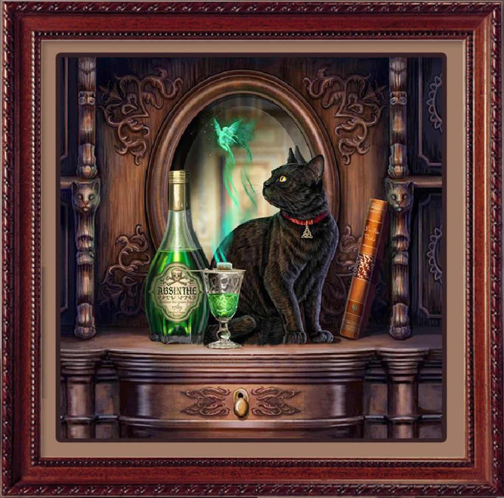 5D DIY Diamant Gemälde Bohren Voll Runde Tier Katze und Wein Flasche Mosaik Kunst Farbe mit Diamanten Kit Stickerei Wand aufkleber