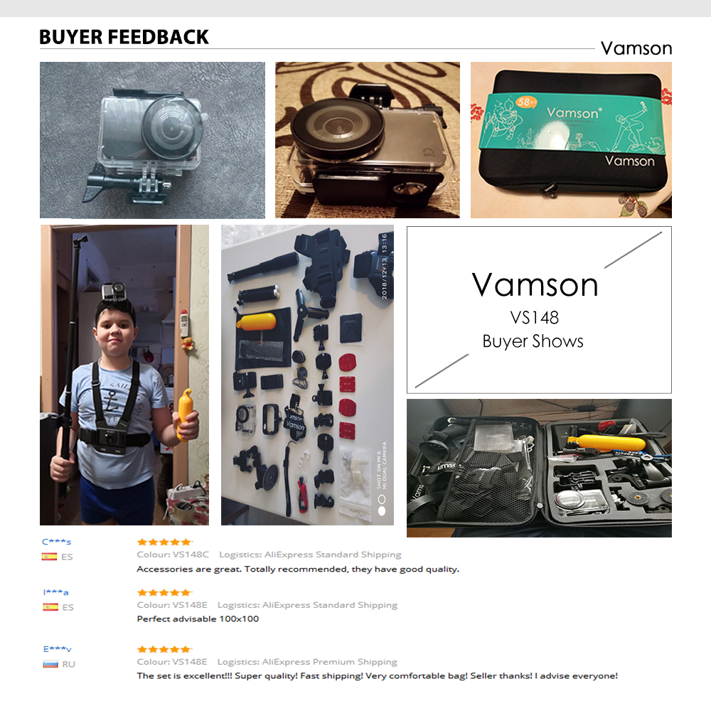 Vamson for Xiaomi MIJIA Accessories Kit Waterproof Housing Cas Frame Box Tripod Mount Monopod for MIJIA Sport Camera VS148