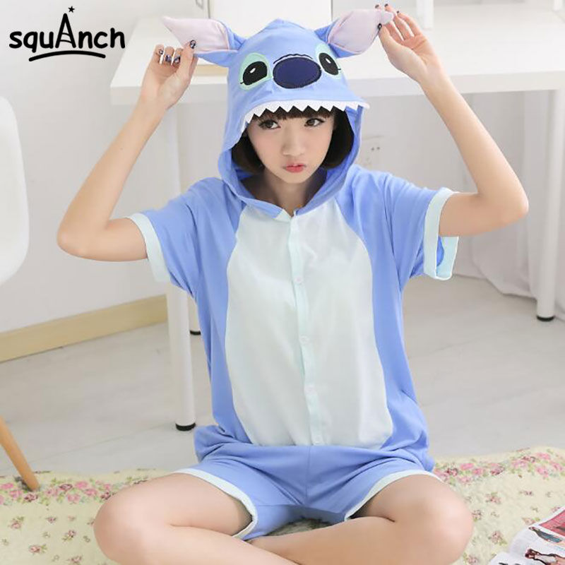 Summer Short Sleeve Kugurumi Anime Blue Stitch Onesie Cute Funny Suit Adult Women Girl Couple Pajama Cotton Hooded Jumpsuit