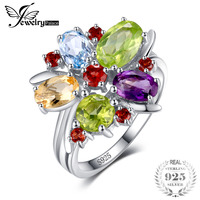 JewelryPalace Flower 3 1ct Natural Amethysts Garnets Peridots Citrines Blue Topazs Cocktail Ring 925 Sterling Silver
