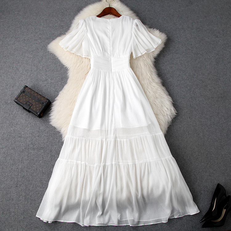 White Dress Women 2019 Spring Summer New V Neck Butterfly Sleeves Slim Empire Waist A Line Perspective Casual Dress Elegant in Dresses from Women 39 s Clothing