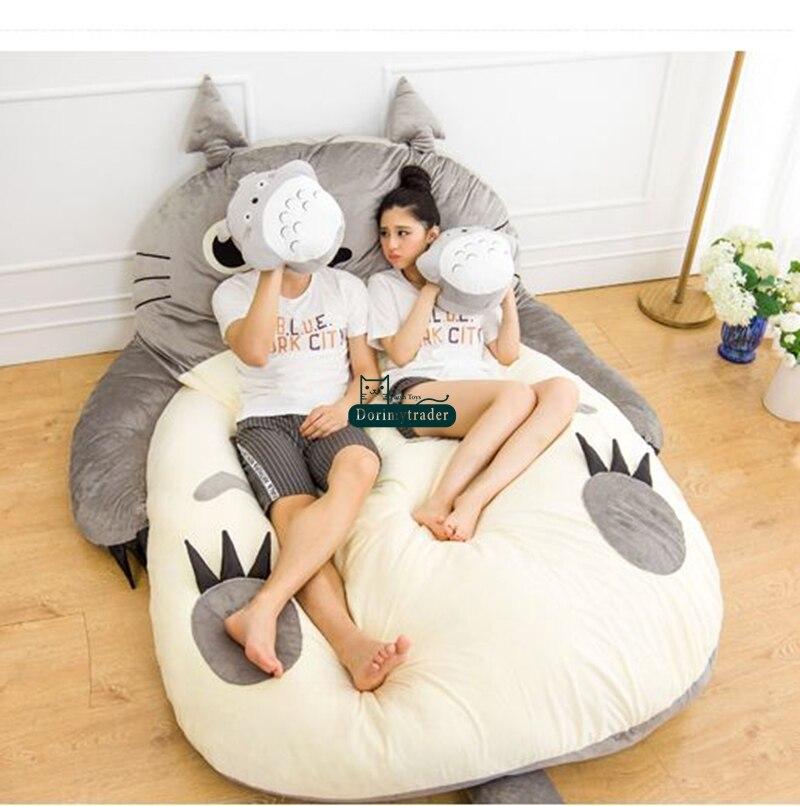 Dorimytrader Pop Anime Totoro Sleeping Bag Soft Plush Large Cartoon Bed  Tatami Beanbag Mattress Kids And