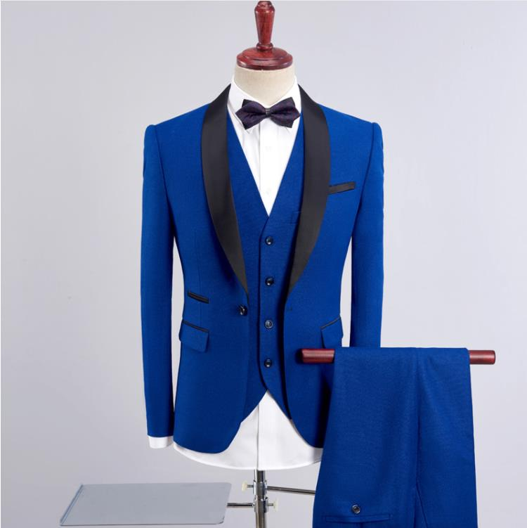 (Jacket+Vest+Pants)2019 Wine Red Slim Fit Men's Wedding Suits Blazer Business Mens Formal Wear High Quality Men's Casual Suits