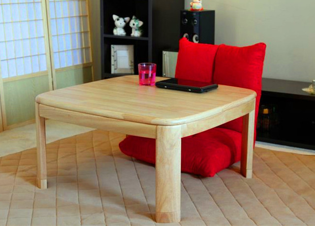 Modern Furniture Legs Wood Kotatsu Foot Warmer Heated Table Square 80cm Natural Living Room Japanese Style Tatami Table Design