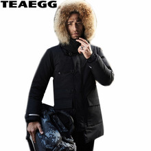 TEAEGG High Quality Black Men Winter Jacket Duck Down Coat Natural Raccoon Fur Mens Winter Parka With Fur Hood Plus Size AL507