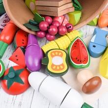 Деревянная Кухня Еда резки миниатюрные фрукты приготовления овощей раннего образования ролевые игры игрушки подарки для детей