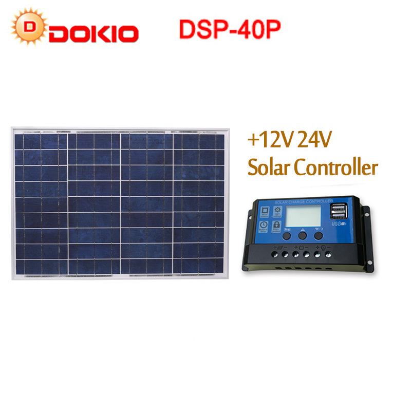 DOKIO 18V 40W Polycrystalline Solar Panel 460 660 25mm Silicon Power Panel Solar Battery Top Quality