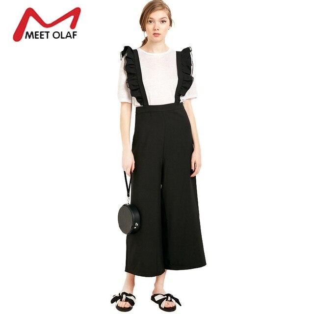 58cead74cd00 Women Suspender pants Female Solid Black Jumpsuit Casual Bodysuit Girls  Sleeveless Wide Leg Pants Ladies Rompers Overalls 0J631